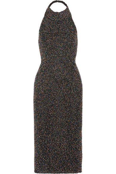 Cushnie et Ochs - Piper Beaded Cotton-mesh Midi Dress - Black