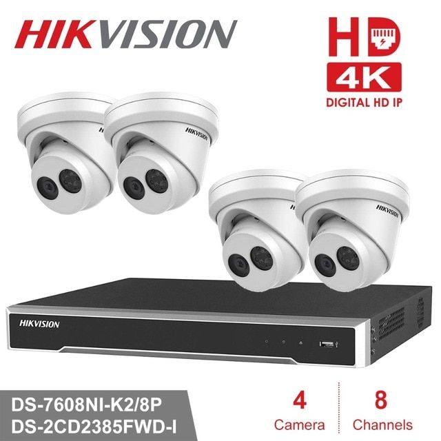 Hikvision 4k Cctv Camera System 8ch Poe Nvr Kit 8 0 Mp Outdoor Security Ip Camera Day Night Home Security Systems Security Cameras For Home Surveillance System