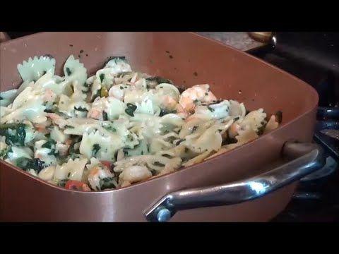 Shrimp, Spinach, Pasta In My Copper Chef Pot Bon Apetite! - YouTube