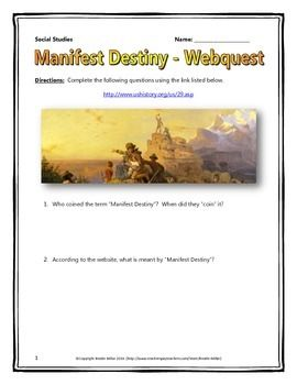 manifest destiny webquest with key the mid student and the o 39 jays. Black Bedroom Furniture Sets. Home Design Ideas