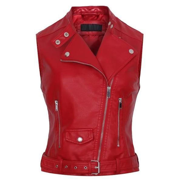 Red bomber motorcycle Leather jackets women brand jaqueta couro vest Waistcoat gilet Leather #sheerbliss #bestoftheday  #leatherjacket #leather #handemade #leathercraft #fashion