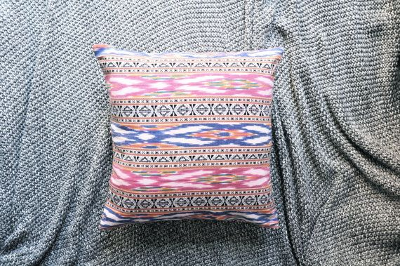 Red & Blue Ikat Print Envelope Cushion Cover by trimandthread