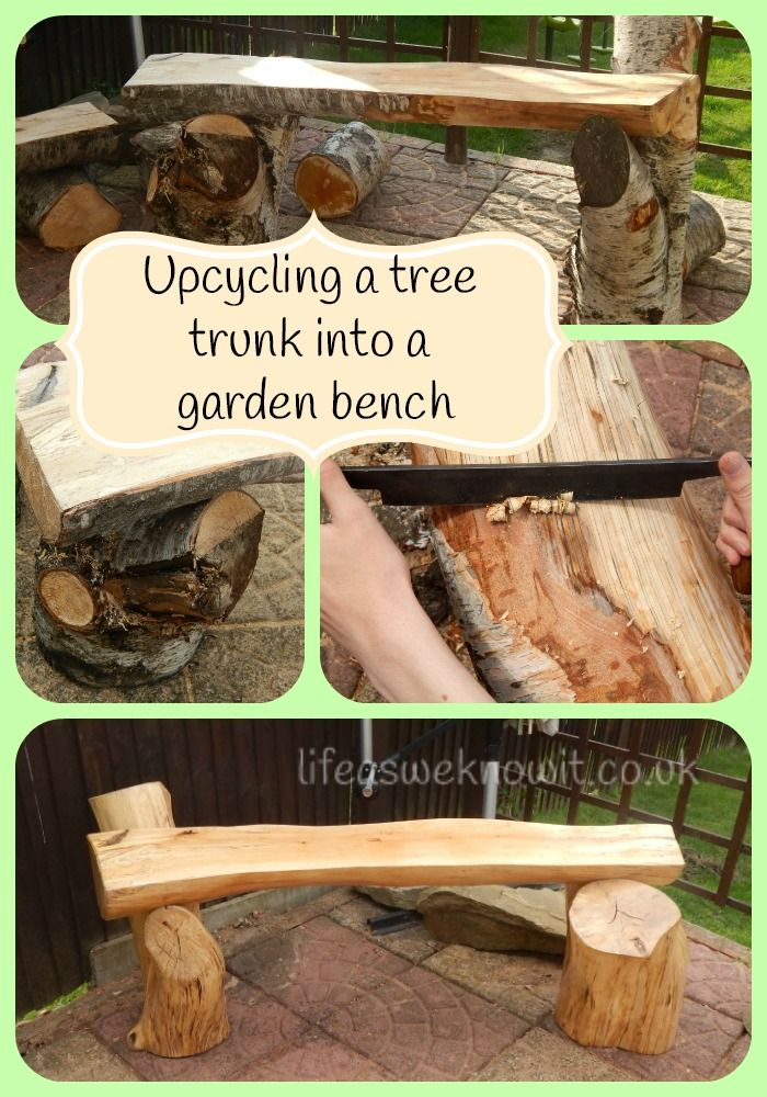 Upcycling a tree trunk into a garden bench