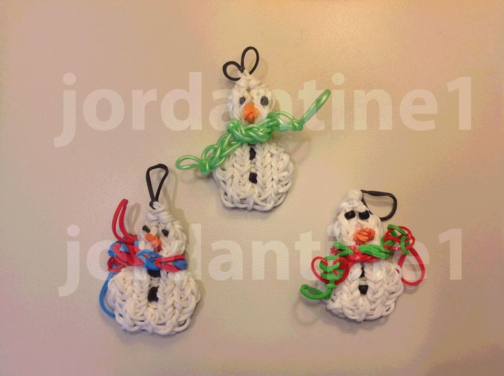 How To Make A Rainbow Loom Small Snowman Charm or Ornament With Two Snow...