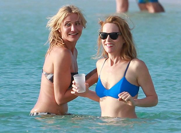 Who is she with Leslie Mann?