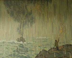 Signals, Allen Tucker, 1931, oil on canvas, 30 in. x 36 in. Currier Museum of Art.