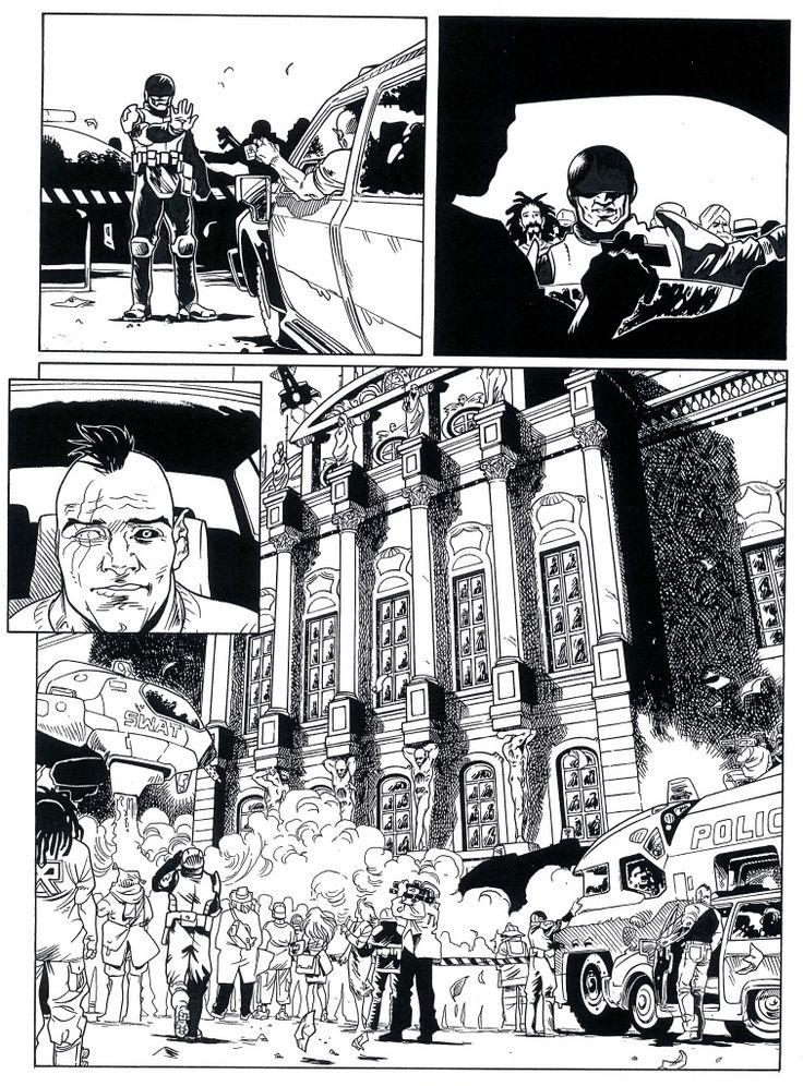 """Ink """"B"""". Da """"Agenzia Alfa n° 33, Il sole del mattino"""", testi di S.Piani e disegni di Melissa Zanella . (L'eredità di Hopper - Sergio Bonelli Ed) .  By Melissa Zanella."""