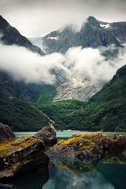 Bondhusbreen, Norway - the steepest sidearm of the main Folgefonna glacier on the eponymous peninsula and in the eponymous National Park.