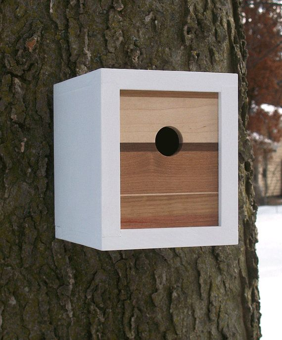 Modern contemporary reclaimed wood birdhouse nest box for Different types of birdhouses