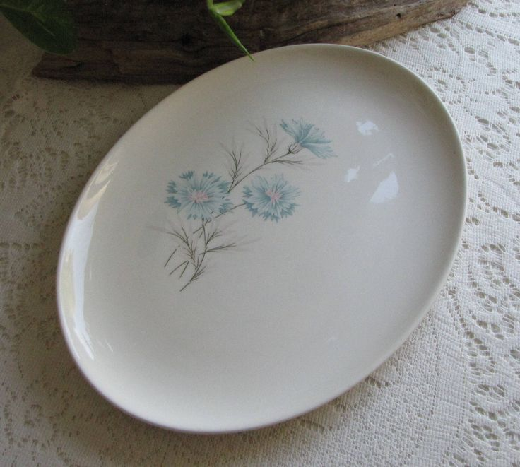Blue Boutonniere Dinner Platter Taylor, Smith and Taylor Ever Yours Series Vintage Dinnerware and Replacements