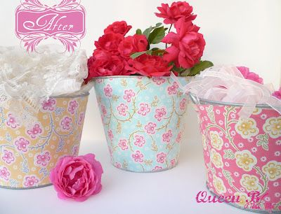 Queen B and Me: Tin Buckets {Makeover}  Fabric, spray adhesive, and a tin bucket so cute!