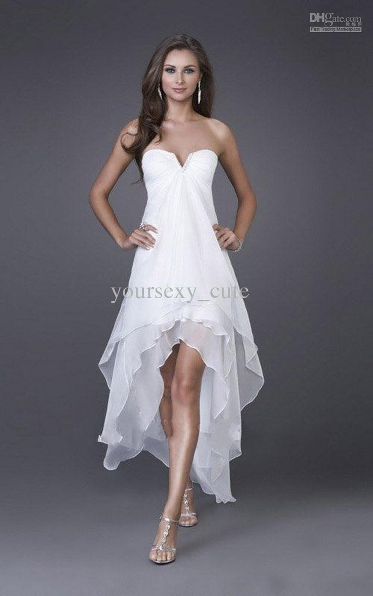 Wholesale Simple Low Price In Stock Chiffon A-line High-low Bridesmaid Dresses Ruche Beads Sequins Zipper, Free shipping, $61.6-69.99/Piece | DHgate