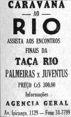 Cartaz convocando torcedores brasileiros para a final da Taça Rio 1951, no Maracanã, contra a Juventus-ITA.