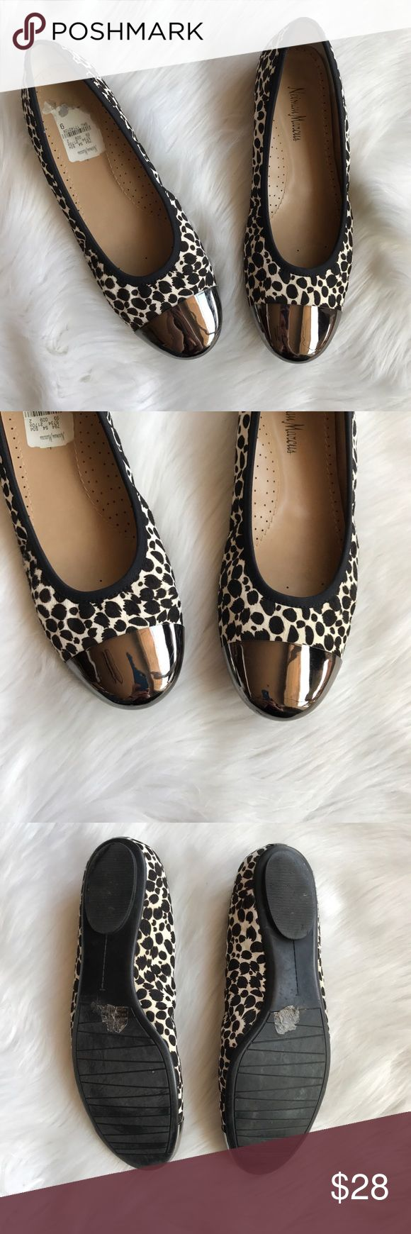 Neiman Marcus Calf hair cap toes ballet flats These adorable flats are perfect for the office or a Saturday morning running errands! These are in excellent used condition, have a cute cap toe with a calf hair like exterior. Size 9. Neiman Marcus Shoes Flats & Loafers