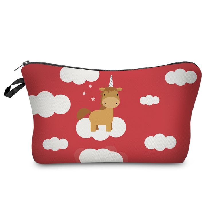 Adorable Red Unicorn Pencil Case for Kids.