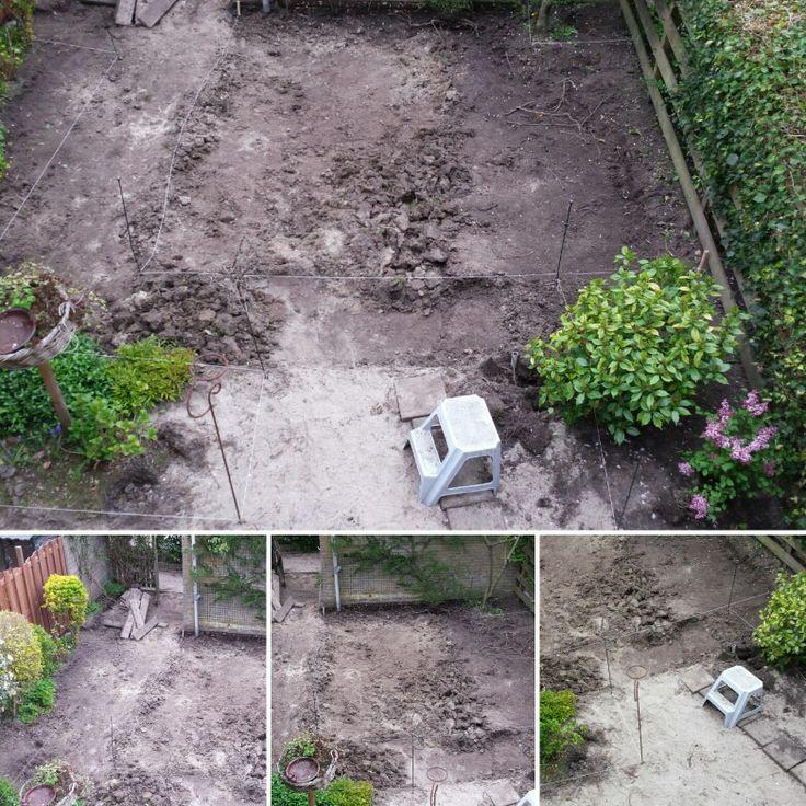 Achtertuin gras weggestoken en tuin afgraven