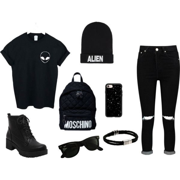 ALIEN ♥ by taurahell on Polyvore featuring WithChic, Boohoo, Moschino, Ray-Ban, Nicopanda and Casetify