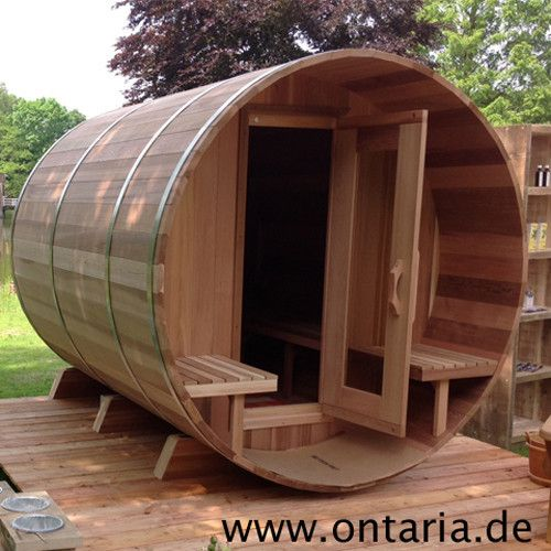 Barrel Sauna H180xL240cm with Porch for 8 People Canadian made CNC quality: Western Red Cedar Full-Length Barrel Sauna Package with Porch for 8 people with wood-burning heater. Delivered in the morning, assembled in the afternoon, fired up in the evening