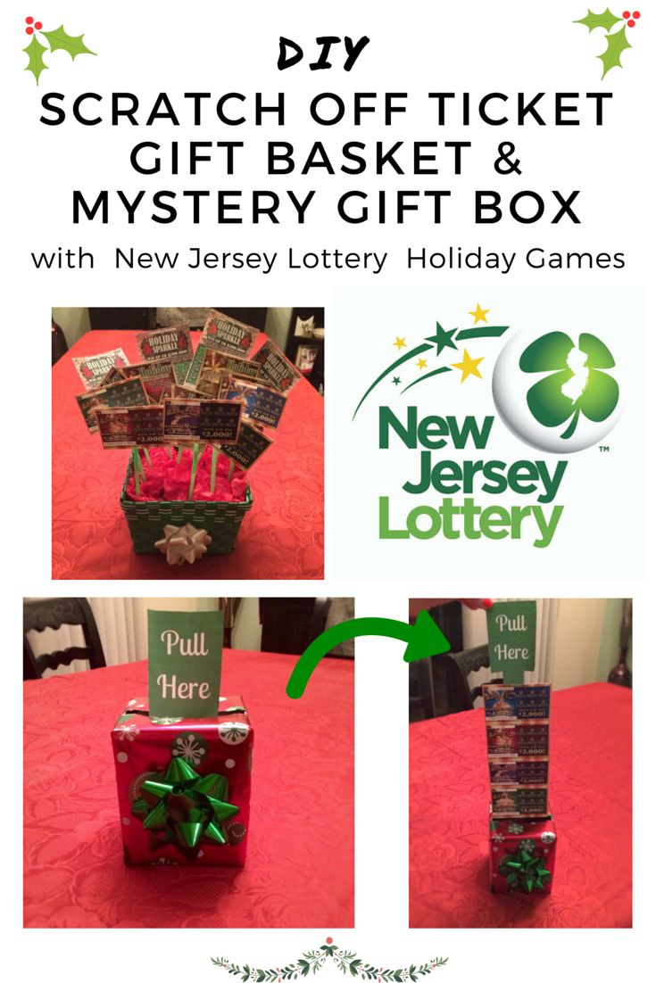 Step-by-step DIY instructions on how to make a Lottery Ticket Gift Basket & a Mystery Gift Box with New Jersey Lottery Holiday Games Scratch Offs!