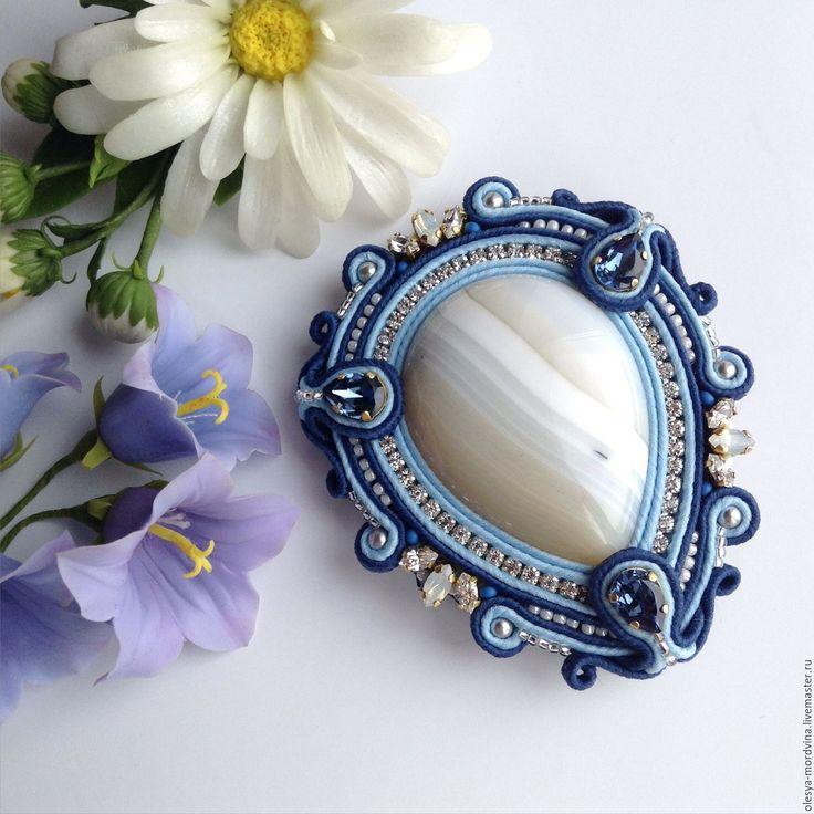 Купить Сутажная брошь - комбинированный, голубой, синий, бежевый, сутажное украшение, брошь, сутажная брошь