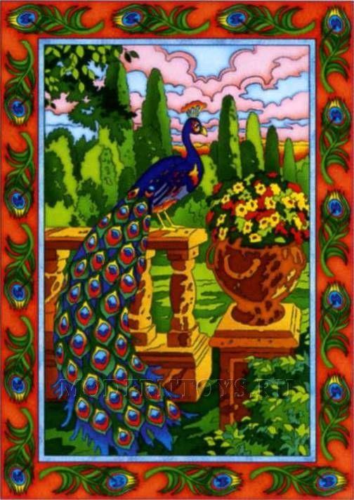 Набор для раскрашивания маркерами Расписной ковер Райский сад Павлин
