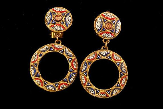 Antique Victorian Red Blue White Micromosaic Dangle Earrings