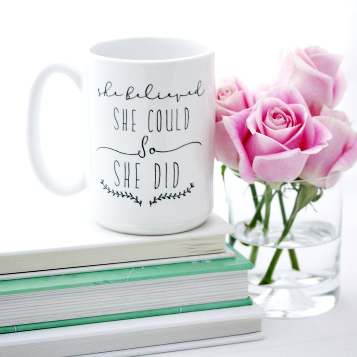 She Believed She Could So She Did, Coffee Mug. Inspirational quote mugs. Large Milk & Honey typographic mugs. by MilkandHoneyLuxuries on Etsy https://www.etsy.com/listing/218767699/she-believed-she-could-so-she-did-coffee