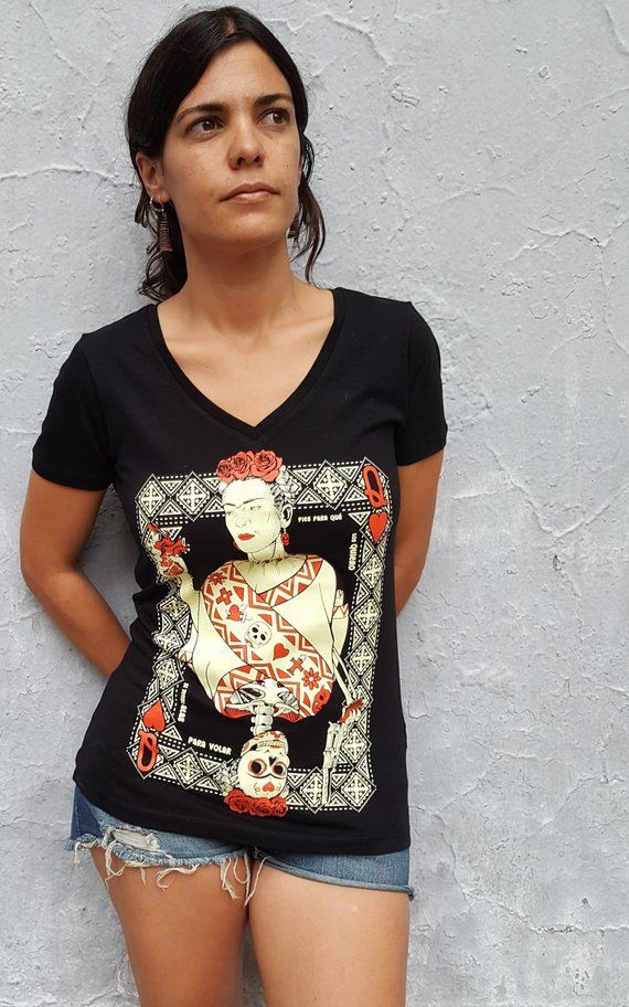 e317b740 Frida Kahlo, Queen of Hearts, one of our best designs. With a reminder of  the mexican culture of the day of dead, this art shirt represents the  duality of ...