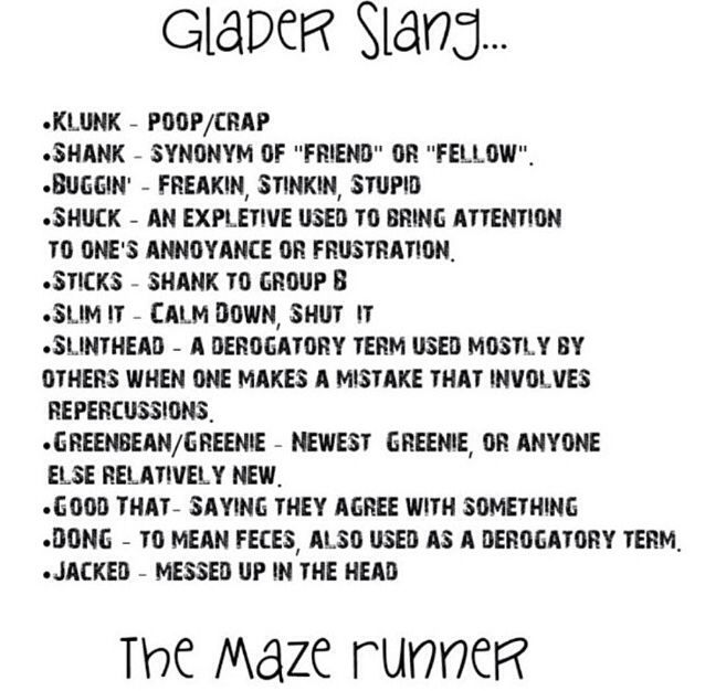 592 best the maze runner images on pinterest maze runner series the maze runner glader slang that actually helps me read these books fandeluxe Images