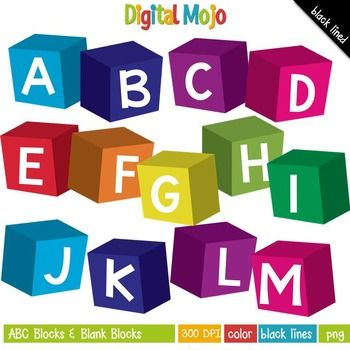 Clipart - ABC Blocks and Blank Blocks  What you get:   - ABC's blocks in the colors indicated in the preview image above.  - 9 blank colored blocks facing the left direction - 9 blank colored blocks facing the right direction  - Black lined images of the 26 alphabet letters, 2 blank blocks (left and right direction)