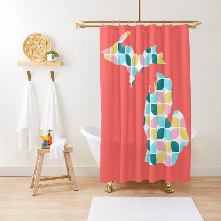 Lemon Fresh Petals Michigan Shower Curtain By Ruth Blohm Hunter Printed Shower Curtain Shower Curtain Floor Pillows