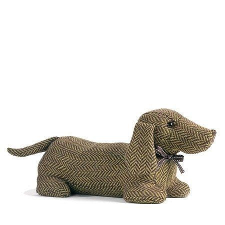 Dachshund Doorstop by Dora Designs. Named Ella this sweet character is made from a brown and green herringbone fabric with a cute brown ribbon and bow with white stitch detail. The perfect gift for any dog loving home. Size approx; 41cm x 19cm x 16cm.