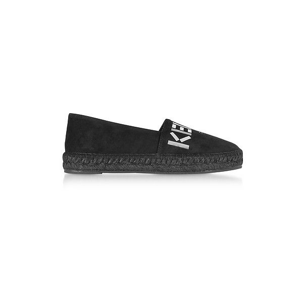 Kenzo Shoes Black Suede Kenzo Mirrored Espadrilles ($260) ❤ liked on Polyvore featuring shoes, sandals, black, black sandals, black braided sandals, espadrille sandals, braided sandals and black suede shoes