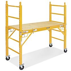 """Steel Rolling Scaffold - 6' H-3797    Portable platforms set up quickly for painting, maintenance and electrical work.  Easy one-person assembly. No tools required.  Adjustable end frames help create a level work surface, even on stairs.  Platform height adjusts in 2"""" increments.  Includes 5"""" locking swivel casters and plywood deck.  Stack up to two units for 12' reach.  OSHA regulations require Guard Rail and Outrigger when stacking."""