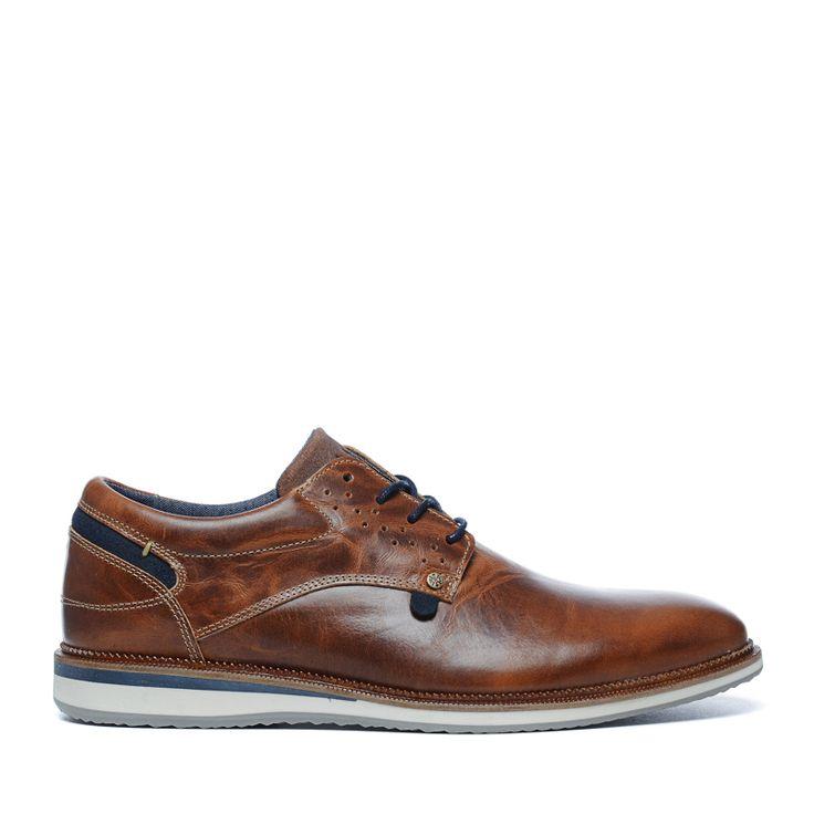 Chaussures à lacets en cuir - cognac