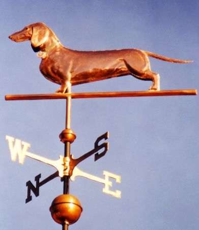 This copper Short Haired Dachshund Dog Weathervane features glass eyes and distinctive tooling, giving the body realistic dimensions. With the aid ofphotographs we can personalize this vane todepicta specificdog. Glass eye color can be selected to accommodate a variety of dog eye colors. As an option, the use of gold leafing can accentuate any distinct …