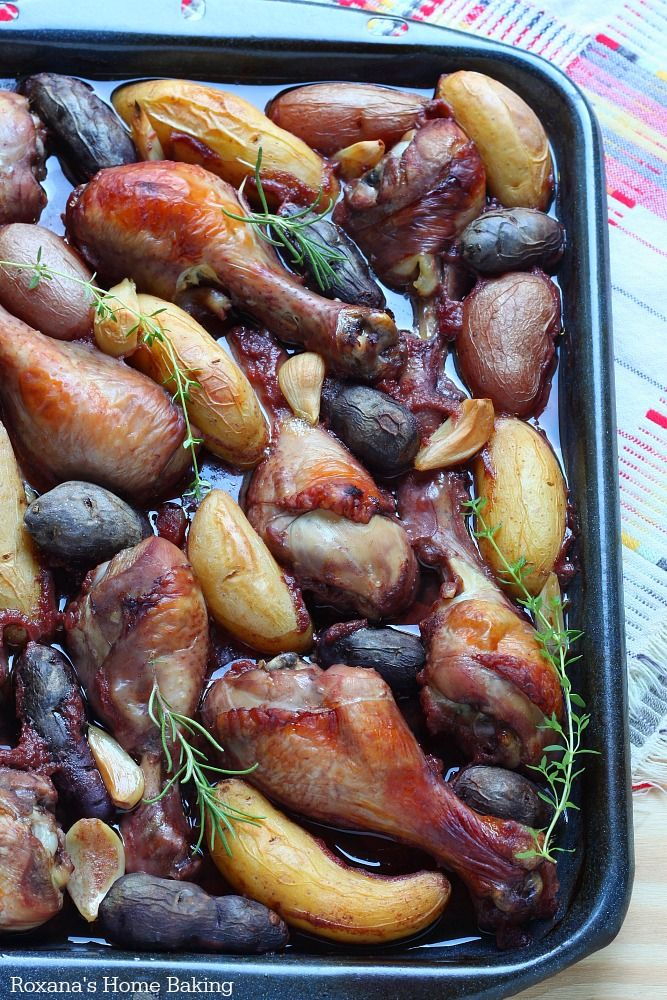 Slow baked red wine chicken with fingerling potatoes