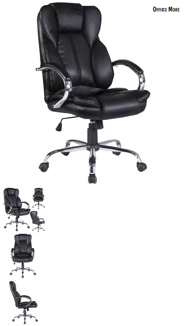 Wood swivel desk chair laquered finish warms amp padded seat ebay - Office Furniture High Back Office Chair Executive Swivel Computer Desk Chair Black Pu Leather