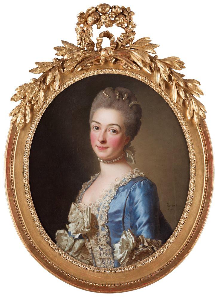 Porträtt av okänd dam, midjebild. Signerad Roslin S. och daterad 1769. Duk, oval 65 x 54 cm. Samtida förgylld, bronserad och rikt snidad ram.