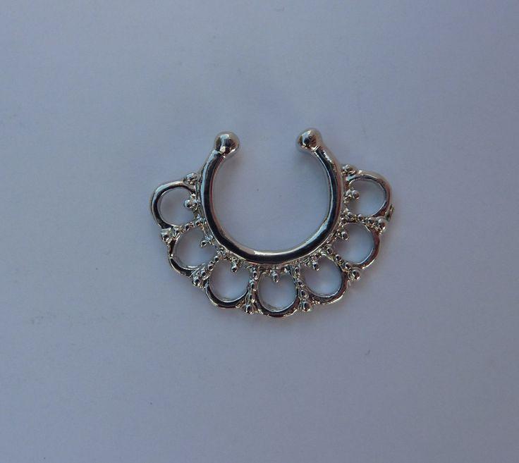 Silver Fake septum ring, titanium fake septum ring, titanium fake nose ring, silver fake nose ring, fake nose ring, fake septum ring, S12