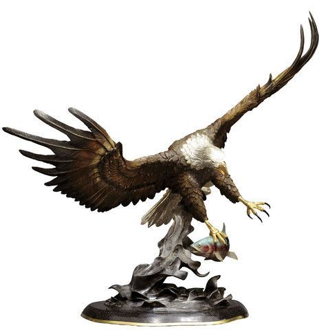 """Fly Fishing"" Artist - Chester Fields Limited Edition Bronze Edition No 42 of 150 36"" High sculpture of an eagle catching a fish. #Eagles"