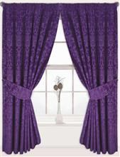 "Aubergine Purple Curtains Jacquard 90"" x 90"" Fully Lined with 2 Tie Backs Fleur De Lys"