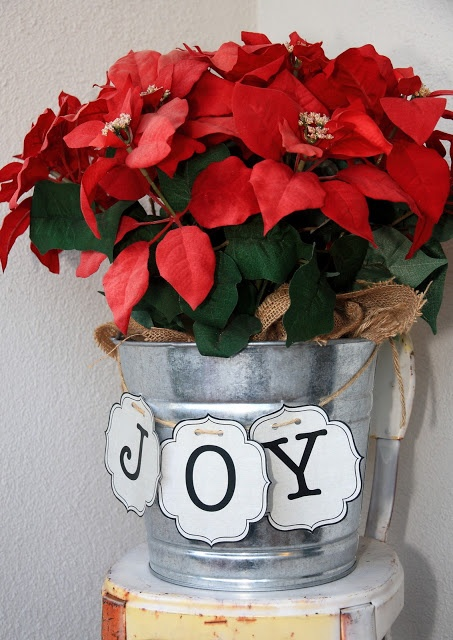 """Christmas Decor: """"Joy"""" Burlap - Christmas Poinsettia"""
