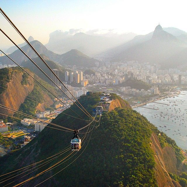 : Rio De Janeiro, Brazil ----------------------------------------- This epic view is from the famous Sugar Loaf in Brazil. Rio is home to the most amazing beaches and is the second largest city in Brazil! Take a gondola ride up to the top of the sugar loaf for a surreal view of Rio and the famous wonders of the World, the bay and Christ Statue...#thetravelbuggers -----------------------------------------