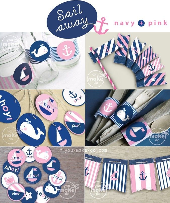 Navy and pink nautical party printables full of nautical party decorations to make a nautical birthday party, nautical baby shower, nautical gender reveal party, or other unique nautical party celebration. Use the sweet nautical banner in a child's or baby's room after the celebration too! This nautical party theme kit includes favor tag printables, straw toppers, banners, drink wrappers, cake or cupcake toppers, and cutlery (or chocolate) wraps!   you make do®  