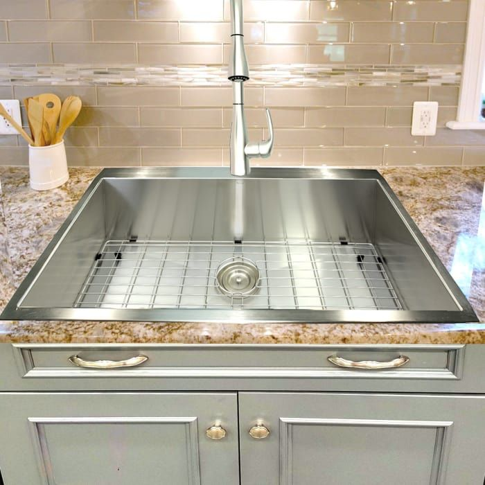 Nantucket Sinks Zr3322s16 33 Inch Top Mount Kitchen Sink With 10 Inch Bowl Depth Premium 304 16 Gauge Sta Top Mount Kitchen Sink Sink Zero Radius Kitchen Sink