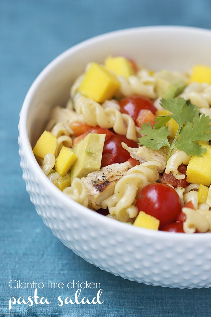 Cilantro-Lime Chicken Pasta Salad ...perfect dish for summer! Easy and delicious!