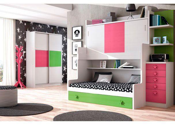 Habitación infantil con mueble compacto de 3 camas.