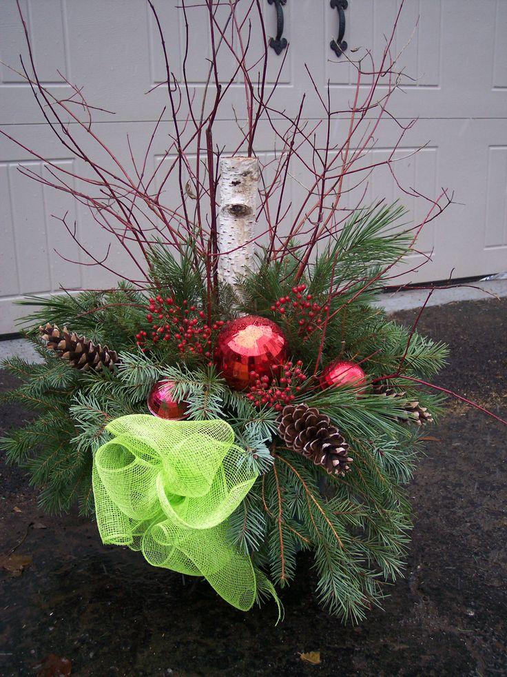 Custom made porch pots for the holiday season.