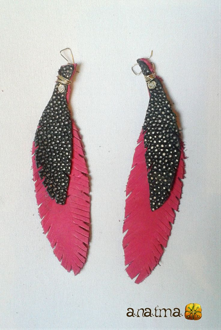 Leather Earrings variety of Colors. Handmade.  3 feather layers. size: LONG  every item is handmade and unique. If you would like to place a special order, with specific type of color or other, please contact me and I will be happy to try to make it come true!   thank you for appreciating and shopping handmade!  www.anatmarte.com